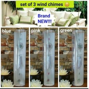 NEW set of 3 Wind Chimes (1 blue, 1 green, 1 pink)